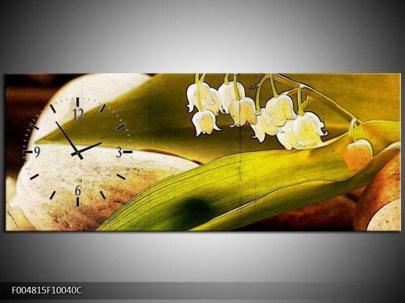 Klok schilderij Bloem | Groen, Wit, Bruin | 100x40cm 1Luik