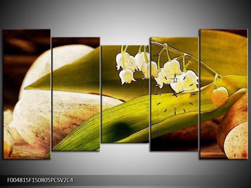 Klok schilderij Bloem | Groen, Wit, Bruin | 150x80cm 5Luik