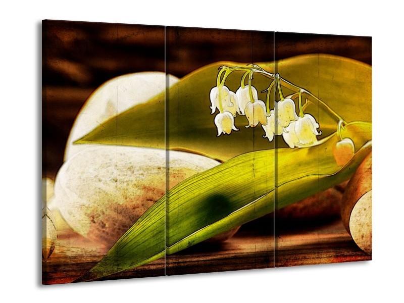 Glas schilderij Bloem | Groen, Wit, Bruin | 90x60cm 3Luik