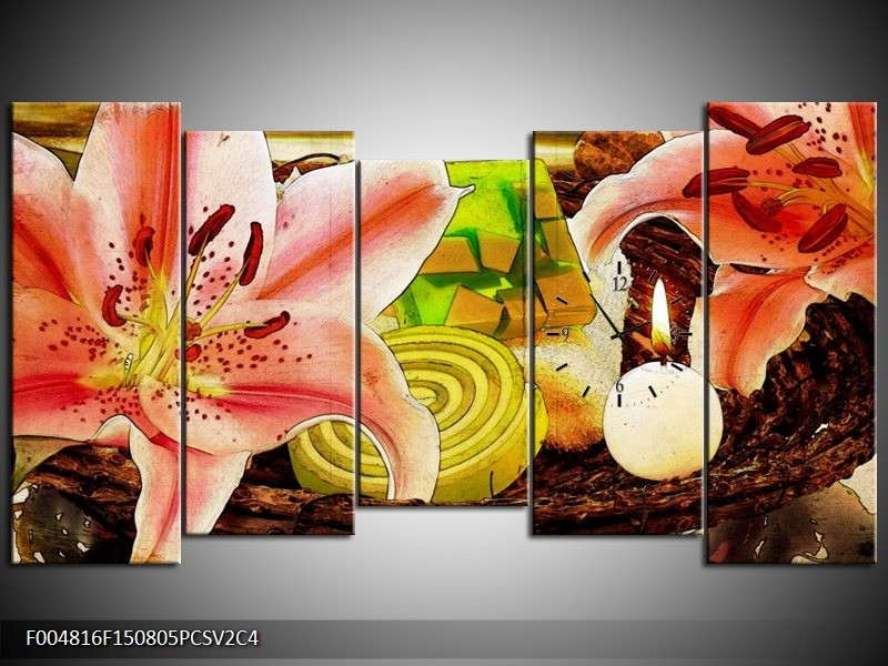 Klok schilderij Bloem | Roze, Groen, Wit | 150x80cm 5Luik