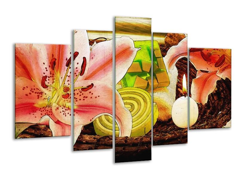 Glas schilderij Bloem | Roze, Groen, Wit | 170x100cm 5Luik