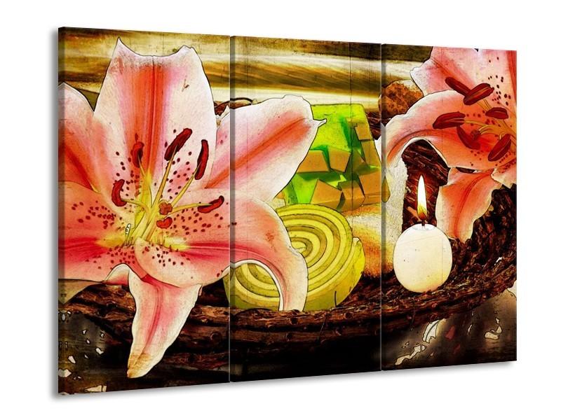 Glas schilderij Bloem | Roze, Groen, Wit | 90x60cm 3Luik