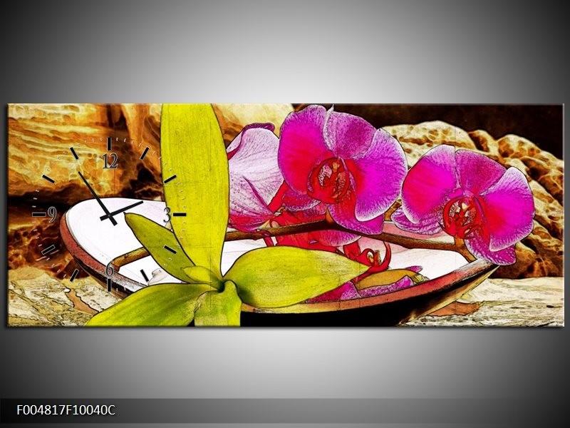 Klok schilderij Orchidee | Paars, Groen, Bruin | 100x40cm 1Luik