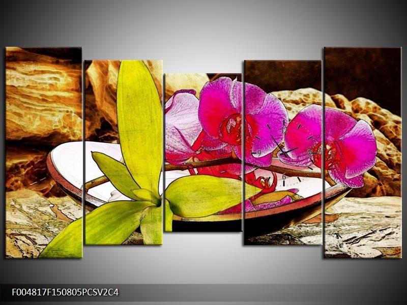 Klok schilderij Orchidee | Paars, Groen, Bruin | 150x80cm 5Luik