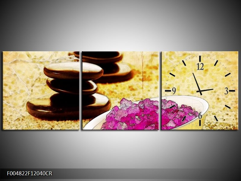 Klok schilderij Spa | Roze, Geel, Bruin | 120x40cm 3Luik