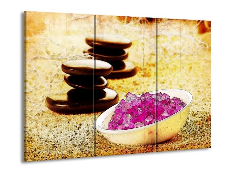 Glas schilderij Spa | Roze, Geel, Bruin | 90x60cm 3Luik