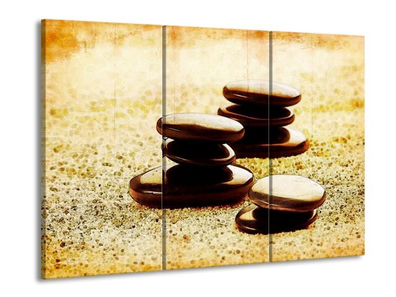 Glas schilderij Spa | Zwart, Geel, Bruin | 90x60cm 3Luik
