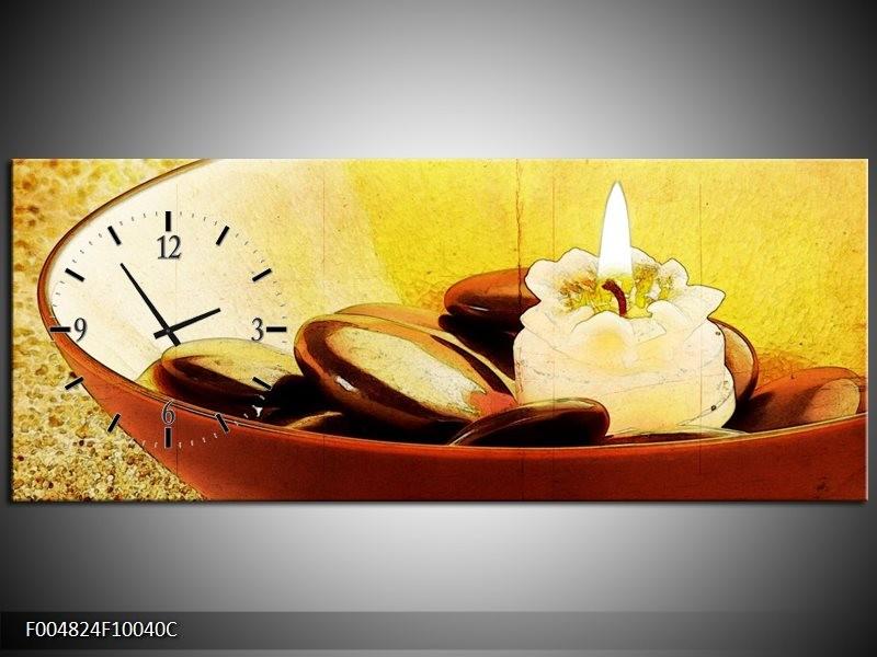 Klok schilderij Spa | Bruin, Geel, Zwart | 100x40cm 1Luik