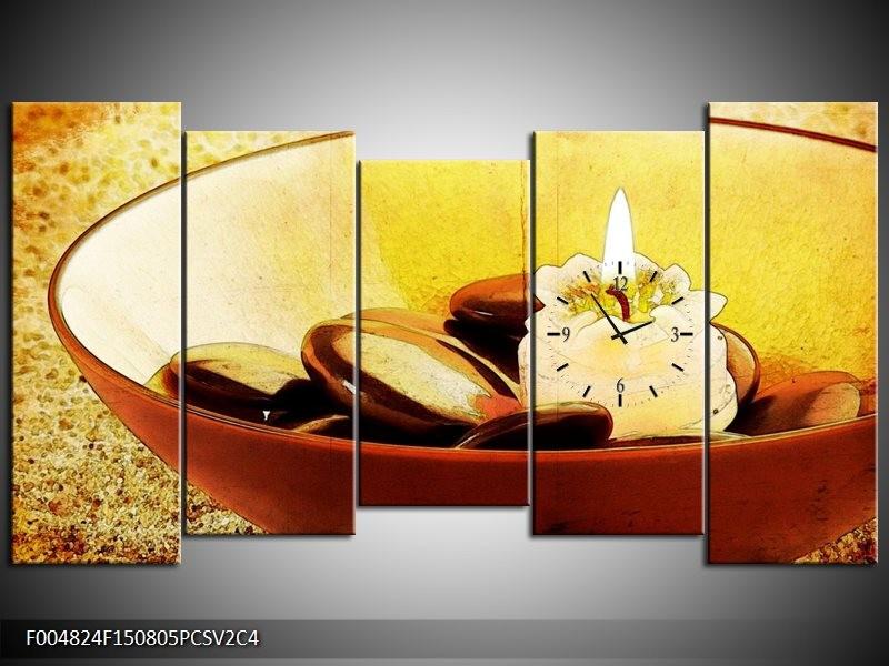 Klok schilderij Spa   Bruin, Geel, Zwart   150x80cm 5Luik