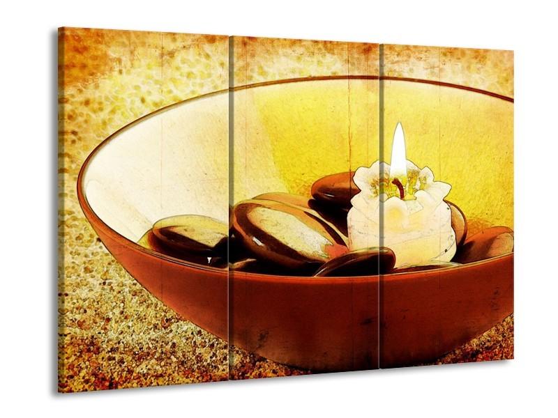 Glas schilderij Spa | Bruin, Geel, Zwart | 90x60cm 3Luik