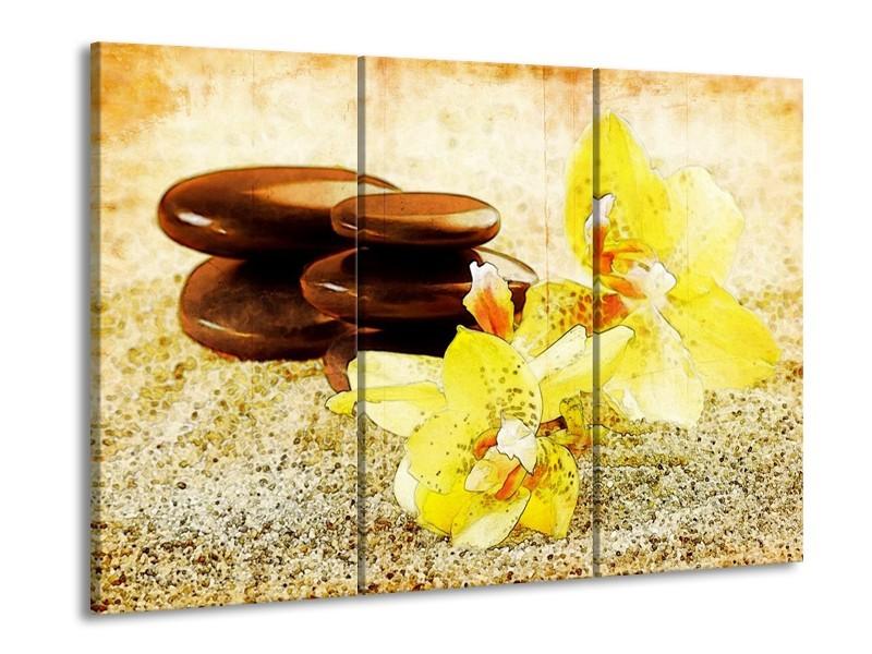Glas schilderij Spa | Geel, Bruin, Wit | 90x60cm 3Luik