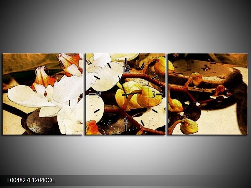 Klok schilderij Orchidee   Bruin, Wit, Groen   120x40cm 3Luik