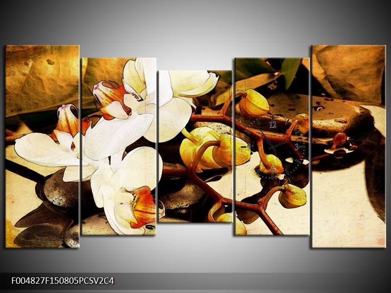 Klok schilderij Orchidee   Bruin, Wit, Groen   150x80cm 5Luik