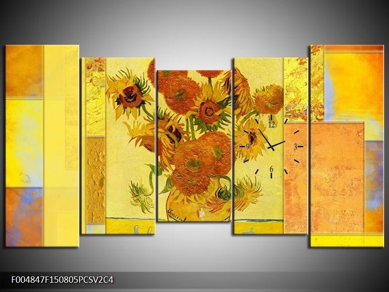 Klok schilderij Klassiek | Geel, Bruin | 150x80cm 5Luik