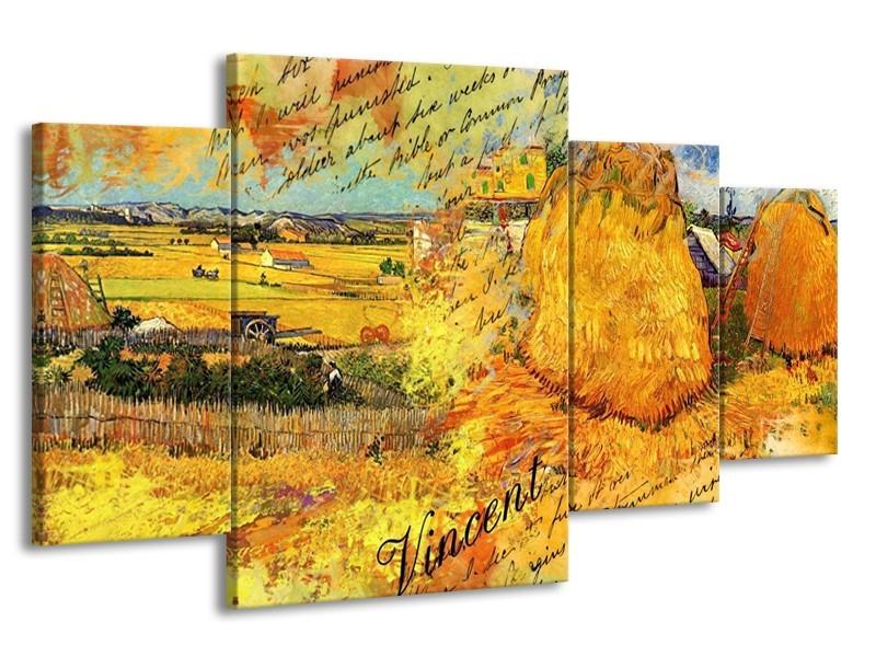 Glas schilderij Klassiek | Geel, Bruin | 160x90cm 4Luik