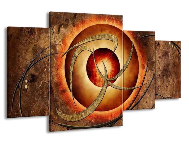 Glas schilderij Modern   Bruin, Oranje   160x90cm 4Luik