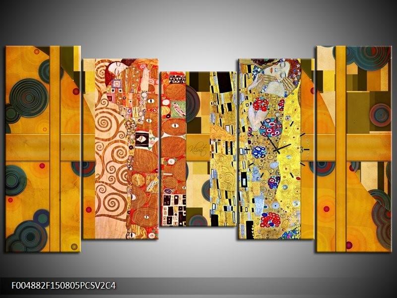 Klok schilderij Modern | Geel, Bruin, Zwart | 150x80cm 5Luik