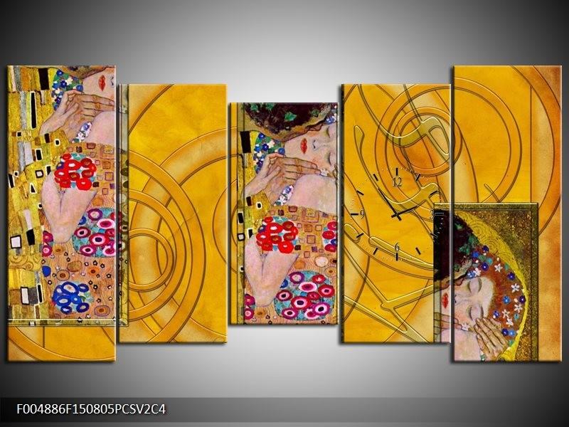 Klok schilderij Modern | Geel, Roze, Rood | 150x80cm 5Luik