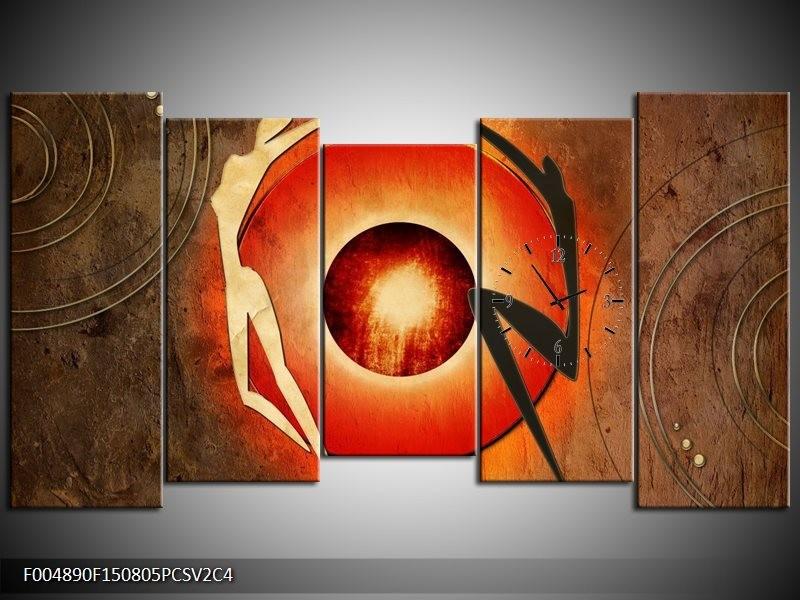 Klok schilderij Modern | Bruin, Oranje, Zwart | 150x80cm 5Luik