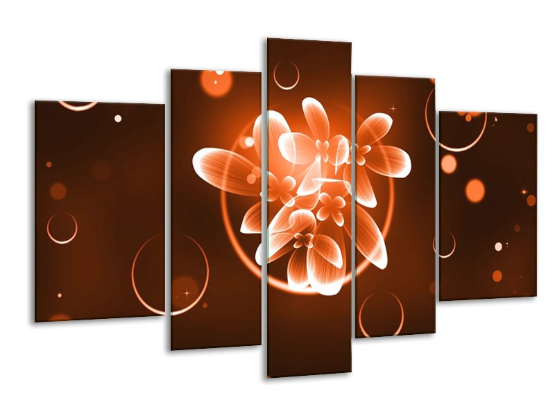 Glas schilderij Bloem | Oranje, Bruin, Wit | 170x100cm 5Luik