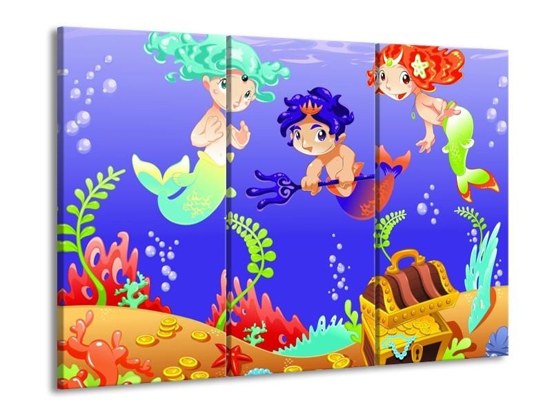 Glas schilderij Sprookje | Blauw, Groen, Geel | 90x60cm 3Luik