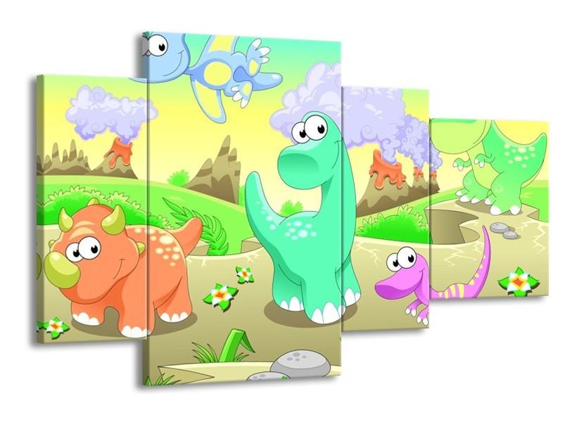 Canvas schilderij Sprookje | Groen, Oranje, Paars | 120x75cm 4Luik