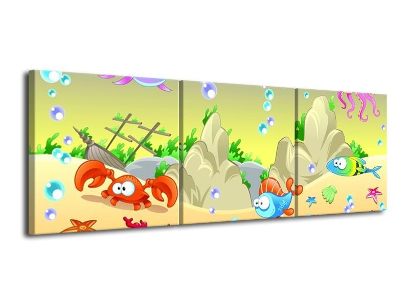 Canvas schilderij Sprookje | Groen, Oranje, Paars | 120x40cm 3Luik