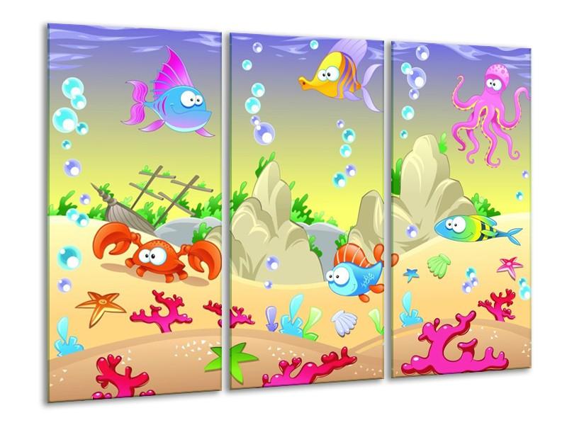 Canvas schilderij Sprookje | Groen, Oranje, Paars | 120x80cm 3Luik