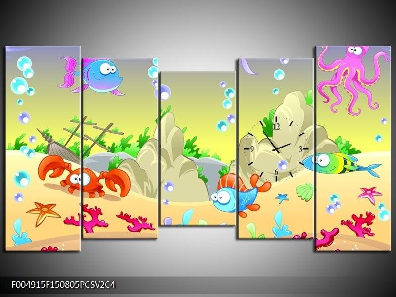 Klok schilderij Sprookje | Groen, Oranje, Paars | 150x80cm 5Luik