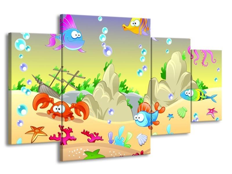 Glas schilderij Sprookje | Groen, Oranje, Paars | 160x90cm 4Luik