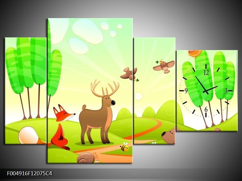 Klok schilderij Sprookje | Groen, Oranje, Bruin | 120x75cm 4Luik