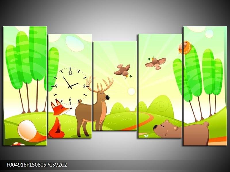Klok schilderij Sprookje | Groen, Oranje, Bruin | 150x80cm 5Luik