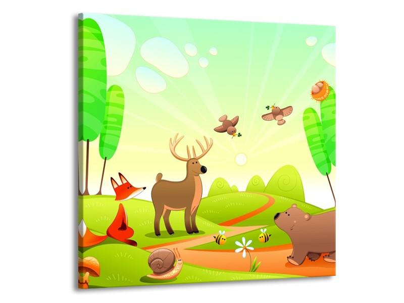 Canvas schilderij Sprookje | Groen, Oranje, Bruin | 70x70cm 1Luik