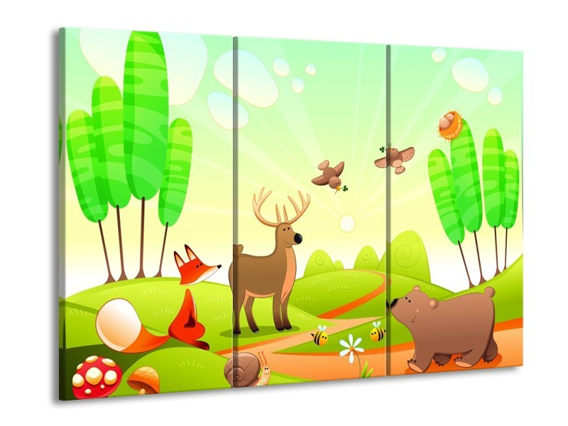 Glas schilderij Sprookje | Groen, Oranje, Bruin | 90x60cm 3Luik