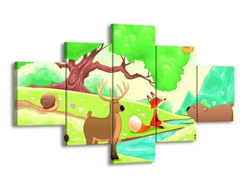 Canvas schilderij Sprookje | Groen, Oranje, Paars | 125x70cm 5Luik