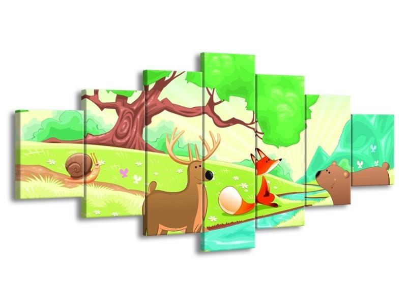 Canvas schilderij Sprookje | Groen, Oranje, Paars | 210x100cm 7Luik