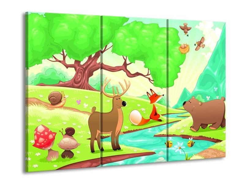 Glas schilderij Sprookje | Groen, Oranje, Paars | 90x60cm 3Luik