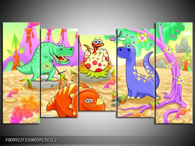 Klok schilderij Sprookje | Groen, Roze, Paars | 150x80cm 5Luik