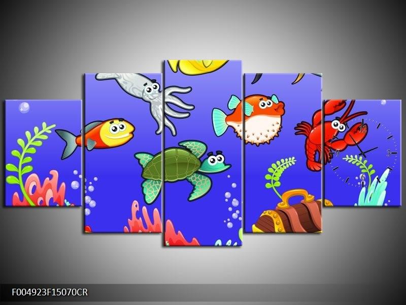 Klok schilderij Sprookje | Groen, Blauw, Paars | 150x70cm 5Luik