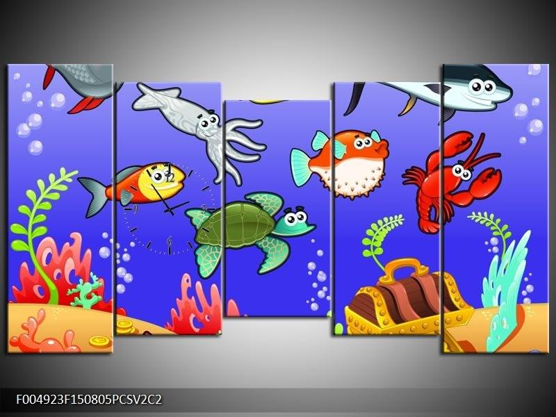 Klok schilderij Sprookje | Groen, Blauw, Paars | 150x80cm 5Luik