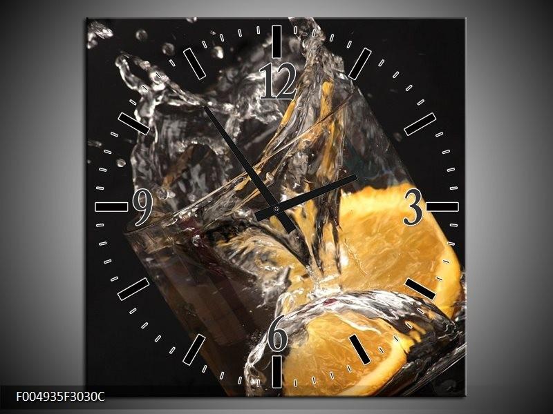 Klok schilderij Keuken | Geel, Wit, Zwart | 30x30cm 1Luik