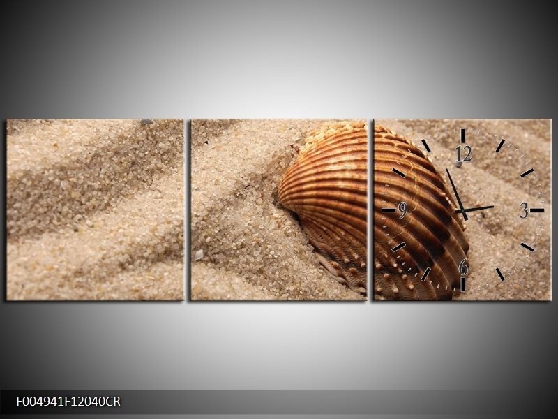 Klok schilderij Zand | Bruin | 120x40cm 3Luik