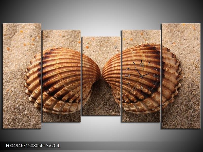 Klok schilderij Zand | Bruin, Crème | 150x80cm 5Luik