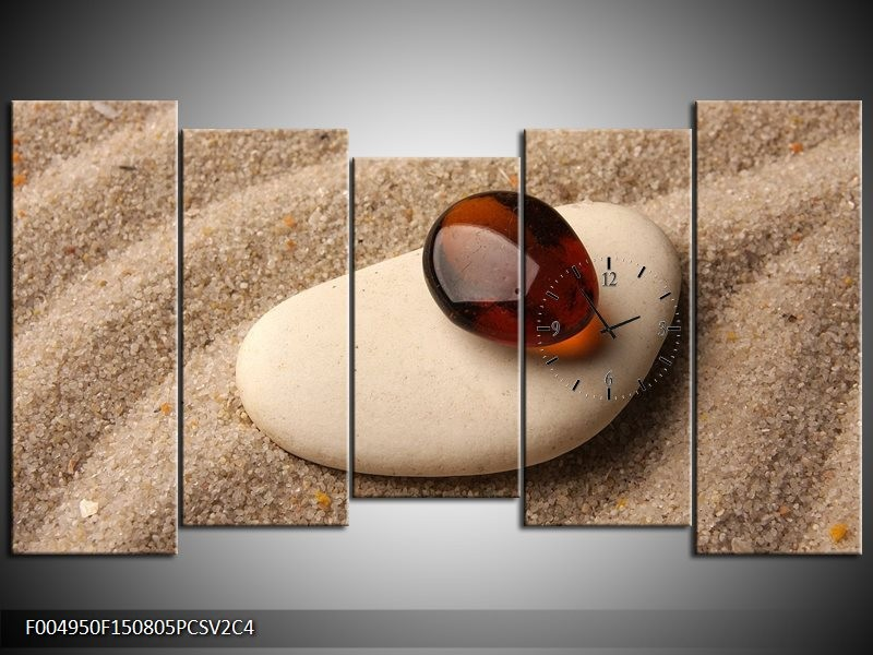 Klok schilderij Spa | Oranje, Crème, Wit | 150x80cm 5Luik
