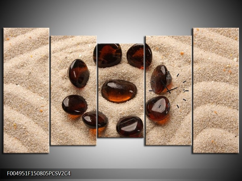 Klok schilderij Spa | Oranje, Crème, Bruin | 150x80cm 5Luik