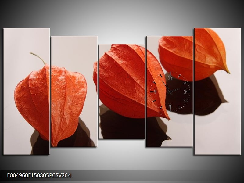Klok schilderij Spa | Oranje, Grijs, Bruin | 150x80cm 5Luik