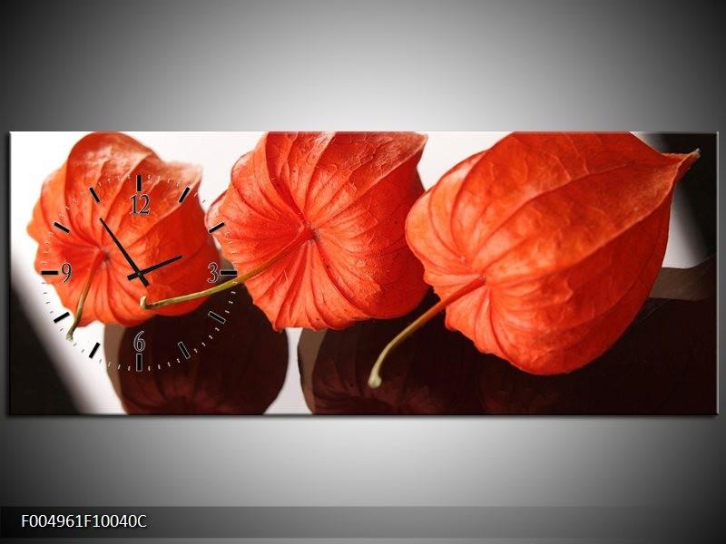 Klok schilderij Keuken | Oranje, Wit | 100x40cm 1Luik