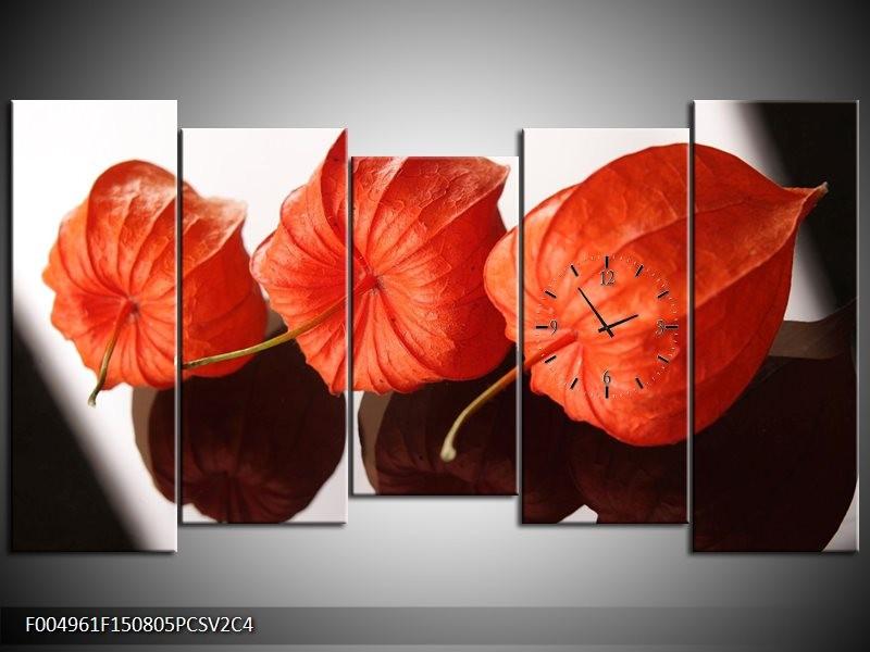 Klok schilderij Keuken | Oranje, Wit | 150x80cm 5Luik