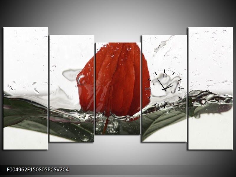 Klok schilderij Keuken | Rood, Grijs, Wit | 150x80cm 5Luik