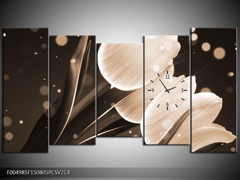 Klok schilderij Tulp   Wit, Grijs   150x80cm 5Luik